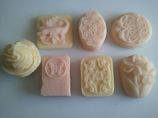 Plumeria Gift Soaps ultra-rich Shea and Cocoa butter goats milk, 4 oz each, you select Soap style & Color